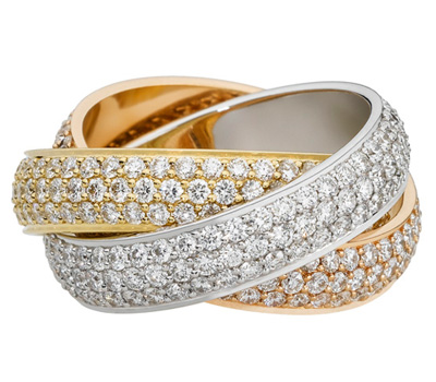 Bague Cartier trois ors Trinity en diamants