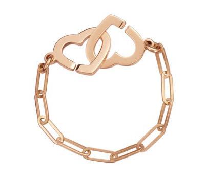 Bague chainette coeur en or rose de Dinh Van