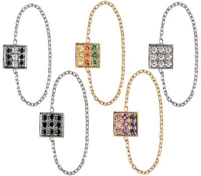 Bague chainette en or et pierres fines ou précieuses