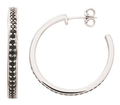 Boucles d'oreilles créoles en argent et diamants noirs