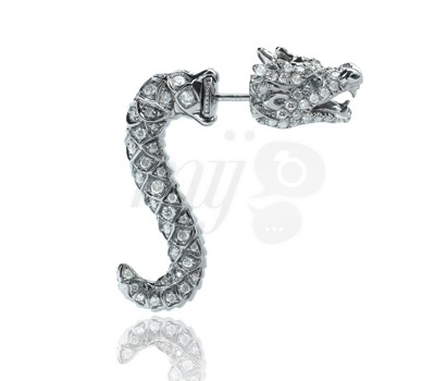 Boucles d'Oreilles Dragons Or Blanc - Élise Dray
