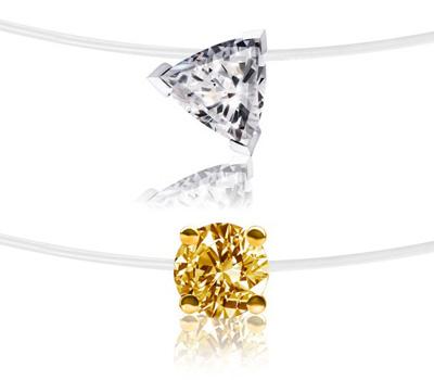 Collier avec un diamant sur un fil de nylon