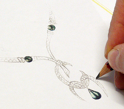 Dessin de bijoux - Gouaché en joaillerie
