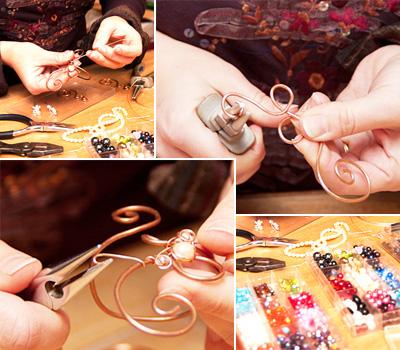 Fabrication d'un bijou artisanal à la main
