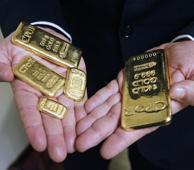 Lingots d'or de différentes tailles
