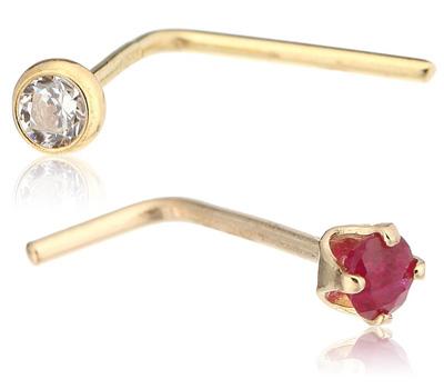 Bijou piercing en or et strass pour le labret