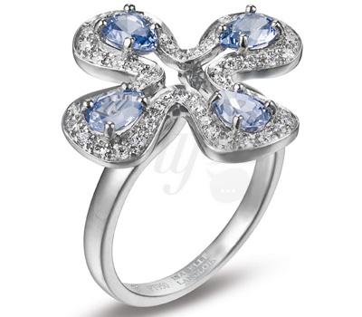Bague Fleur Diamants et Saphirs - Isabelle Langlois Platine