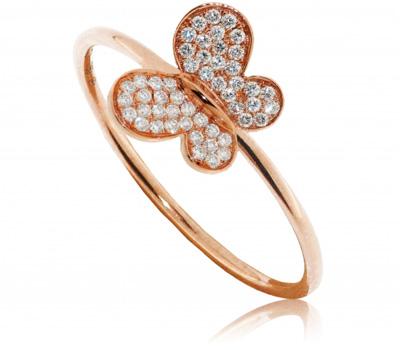 Bague papillon or rose et diamants de Morganne Bello
