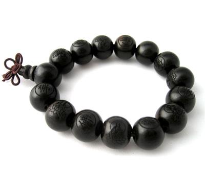 Bracelet bouddhiste en perles de bois d'ébène noir pour le bouddisme