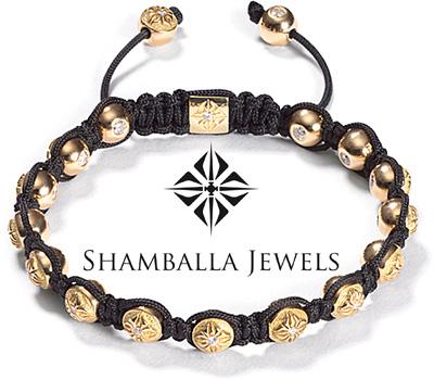 Bracelet boules en or jaune et diamants de Shamballa