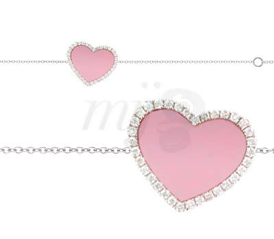 Bracelet Coeur Nacre Rose - Lucky Joaillerie