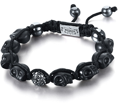 Bracelet Shamballa noir têtes de mort pas cher