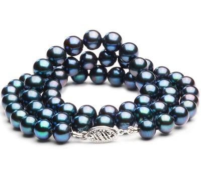 Collier en perles d'eau douce noires à pas cher