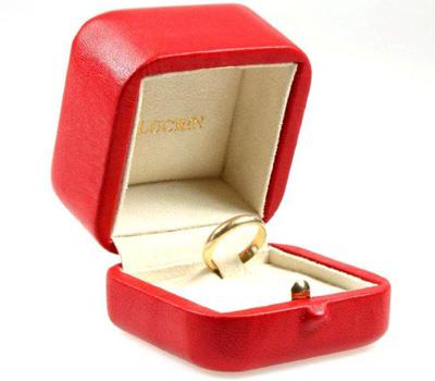 Écrin pour bague et bijoux en cuir rouge