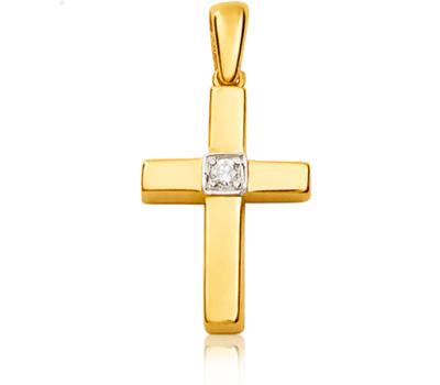 Pendentif croix en or jaune et diamant