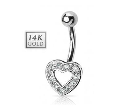 Piercing nombril coeur en or blanc et diamants