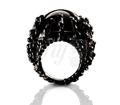 Bague Boules-d'Amour All Black Onyx - Garnazelle