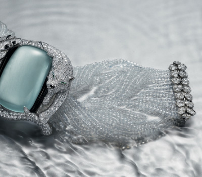 Bracelet Quartz, Diamants et Aigue-Marine - Cartier