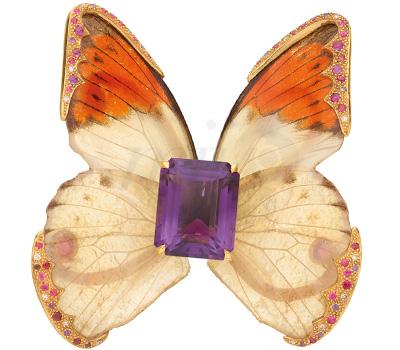 Papillon Bijou Améthyste Billet Doux - Sylvie Corbelin