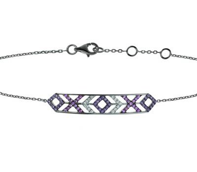 Bracelet Mexicana Rhodié Noir - Lisonia