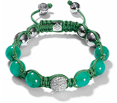 Bracelet Shamballa avec boules diamants et émeraudes