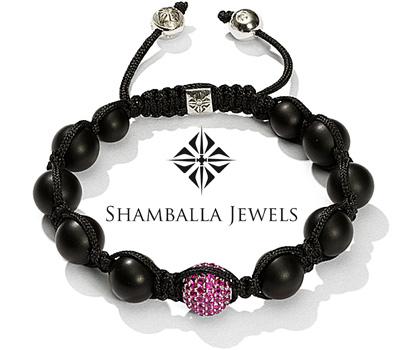 Bracelet Shamballa Jewels avec des perles d'onyx et des rubis