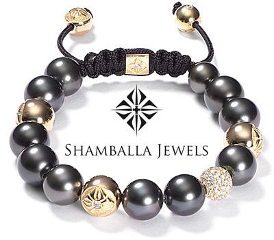 Bracelet Shamballa en or et perles de tahiti