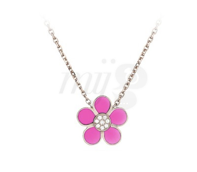 Collier Or Rose Laqué Rose Fluo - By Sydney