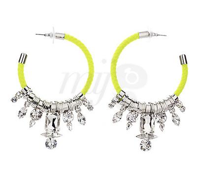 Créoles- Cristaux Jaune Fluo - Noir Jewelry