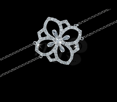 Bracelet Or Blanc Fleur de Lys - Maayane Joaillerie
