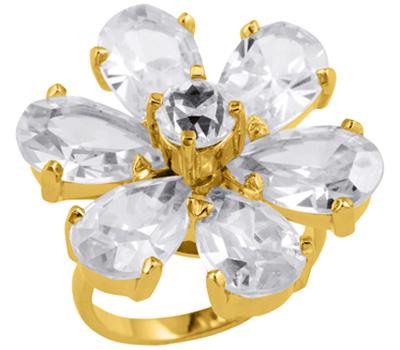 Bague Nina Ricci Cristal Fleur en plaqué or