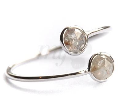 Bague Toi & Moi Diamants Bruts - Perle de Lune