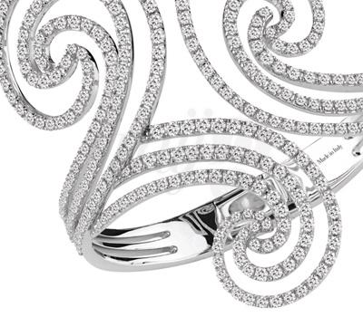 Bracelet Manchette Décor Diamants - Damiani