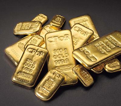 Différentes formes de lingots d'or CPoR