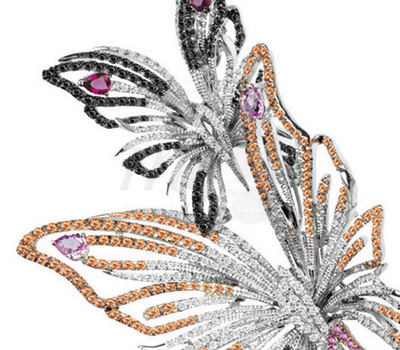 Papillons Saphirs Multicolores - Collier Butterfly Damiani