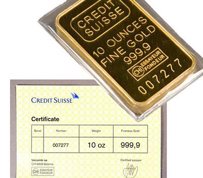 Achat d'un lingot d'or du crédit Suisse