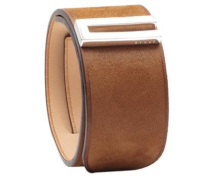Bracelet manchette en cuir marron et argent de Ursul