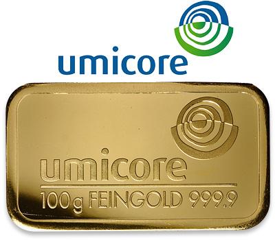 Lingot d'or de 100g Umicore