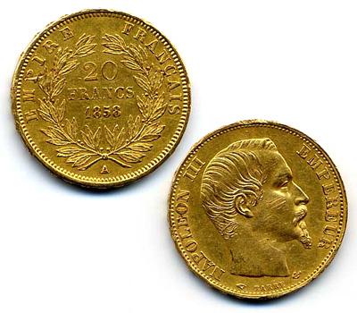 Pièces d'or Napoléon 20 francs de 1858