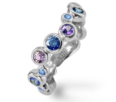 Bague Bulle saphirs bleus et violets de Mathon