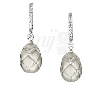 Boucles d'Oreilles Matelassé Or Blanc - Fabergé