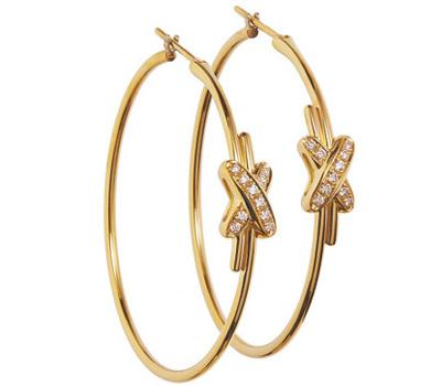 Créoles Liens en or jaune et diamants de Chaumet