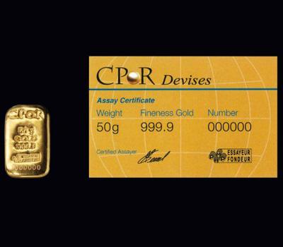 Lingotin de 50g en or par CPOR par devises