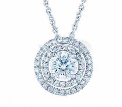 Pendentif Aura Double Entourage Diamants - De Beers