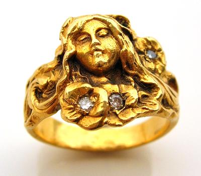Bague Art Nouveau en or 18 carats et diamants