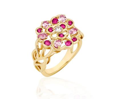 Bague Camélia en or jaune, saphirs roses et diamants de Chanel