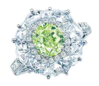 Bague diamant vert de Tiffany & Co