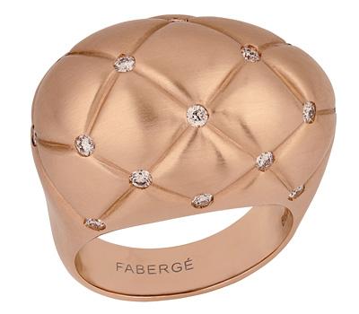 Bague Fabergé en or rose et diamants