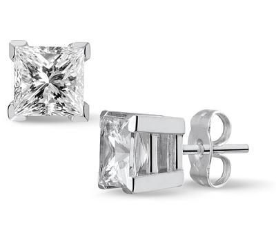Boucles d'oreille homme avec diamant carré