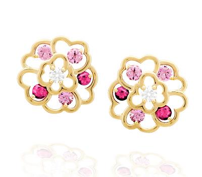 Boucles d'oreilles Camélia en or jaune, saphirs roses et diamants de Chanel